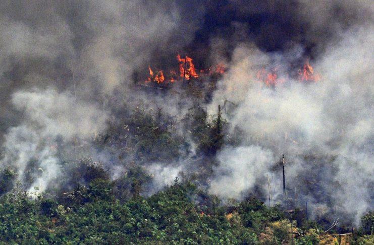 Queimadas na Amazônia - Foto aérea mostra fumaça em trecho de 2 km de extensão de floresta, a 65 km de Porto Velho, em Rondônia, em 23 de agosto de 2019 — Foto: Carl de Souza/AFP